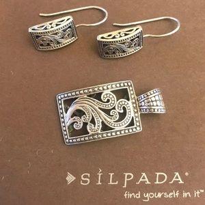 Silpada Paisley Pendant & Earrings